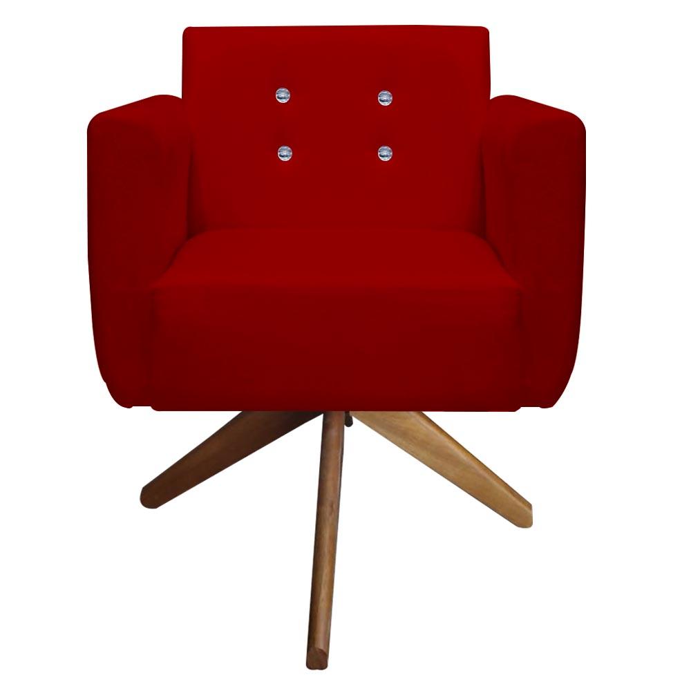 Kit 5 Poltrona Duda Strass Base Giratória Cadeira Escritório Consultório Salão D'Classe Decor Suede Vermelho