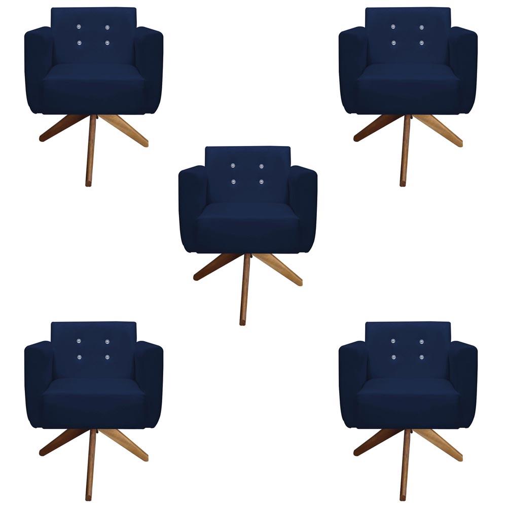 Kit 5 Poltrona Duda Strass Base Giratória Cadeira Escritório Consultório Salão D'Classe Decor Suede Azul Marinho