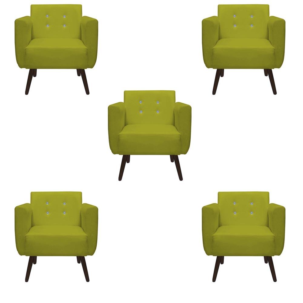 Kit 5 Poltrona Duda Strass Decoração Cadeira Escritório Consultório Salão D'Classe Decor Suede Amarelo