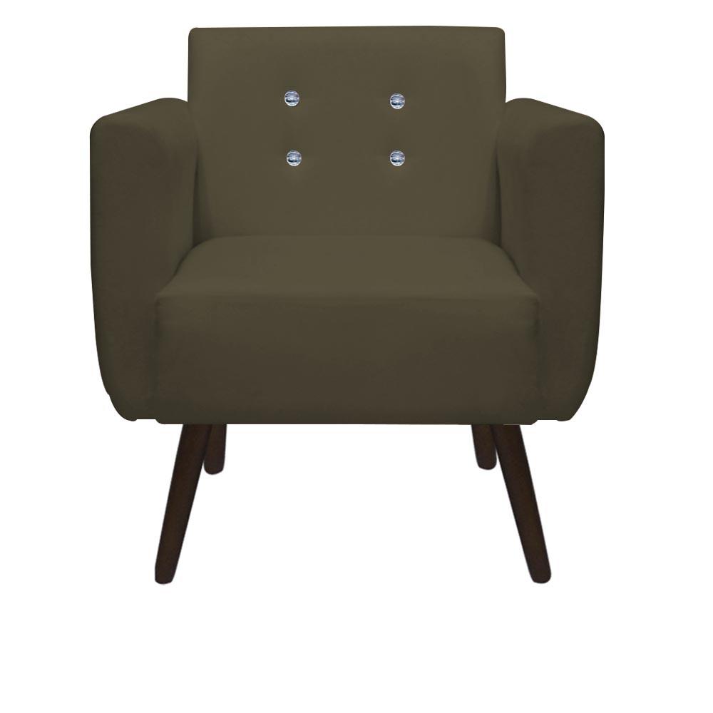 Kit 5 Poltrona Duda Strass Decoração Cadeira Escritório Consultório Salão D'Classe Decor Suede Marrom Rato