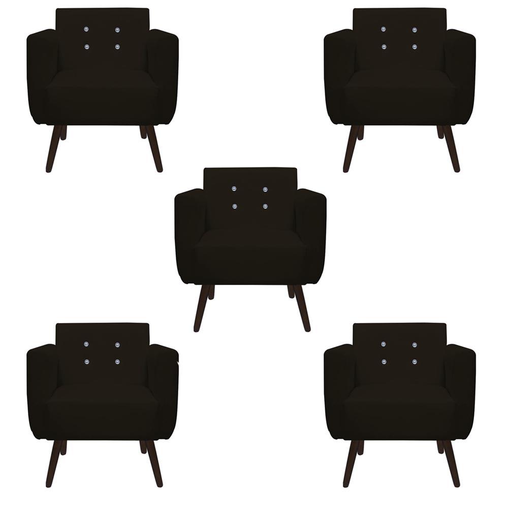 Kit 5 Poltrona Duda Strass Decoração Cadeira Escritório Consultório Salão D'Classe Decor Suede Marrom