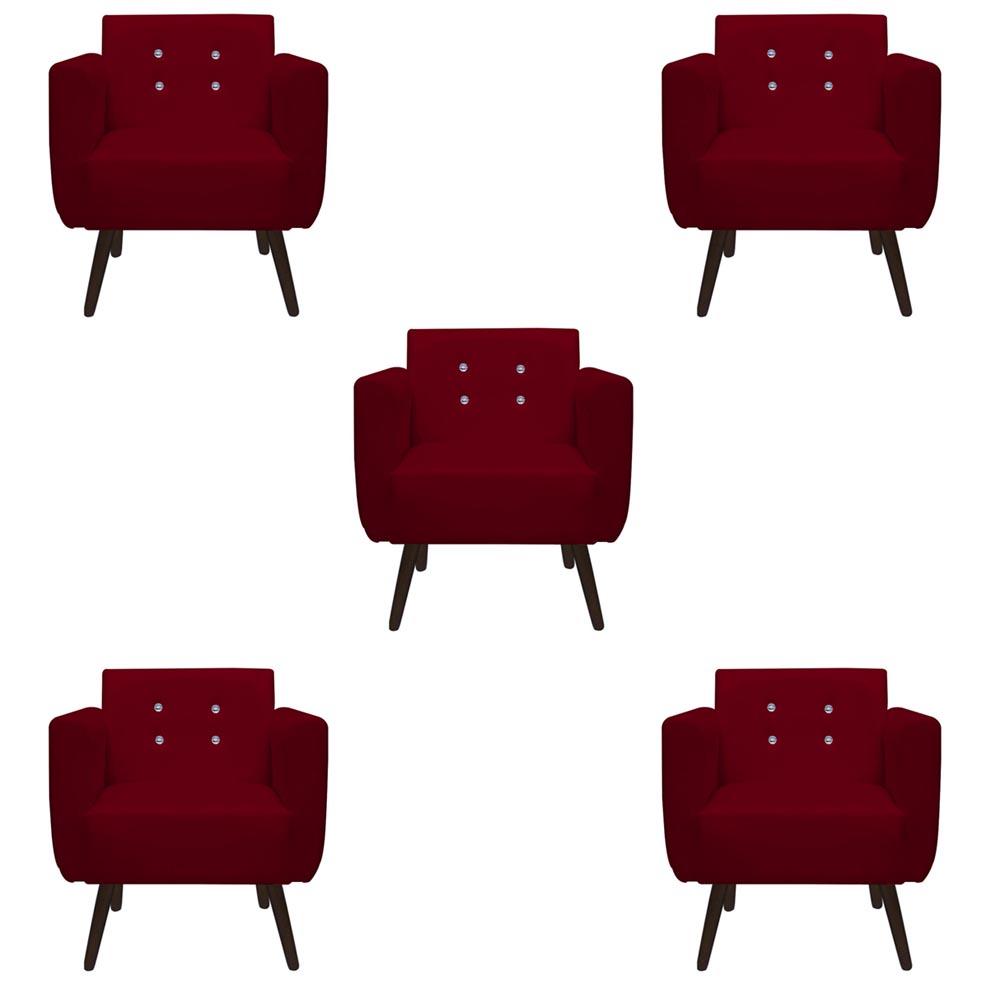 Kit 5 Poltrona Duda Strass Decoração Cadeira Escritório Consultório Salão D'Classe Decor Suede Marsala