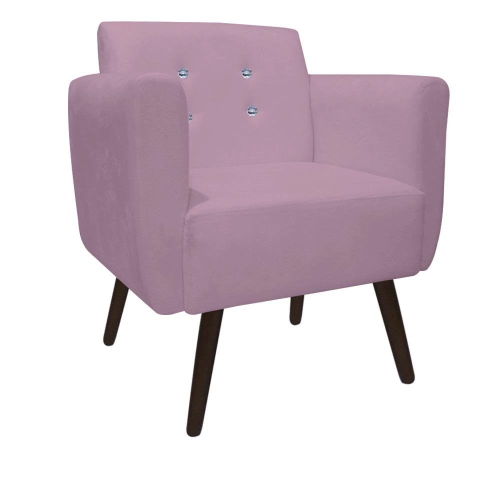 Kit 5 Poltrona Duda Strass Decoração Cadeira Escritório Consultório Salão D'Classe Decor Suede Rosa Bebê