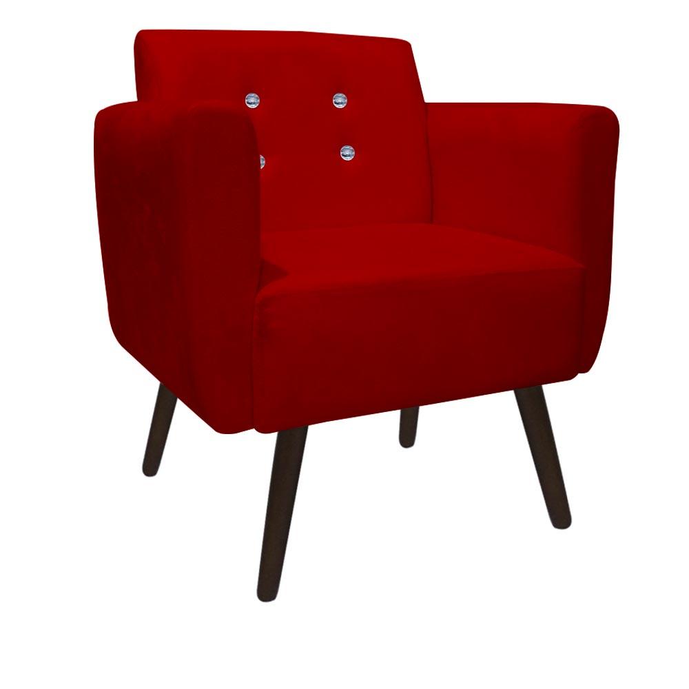 Kit 5 Poltrona Duda Strass Decoração Cadeira Escritório Consultório Salão D'Classe Decor Suede Vermelho