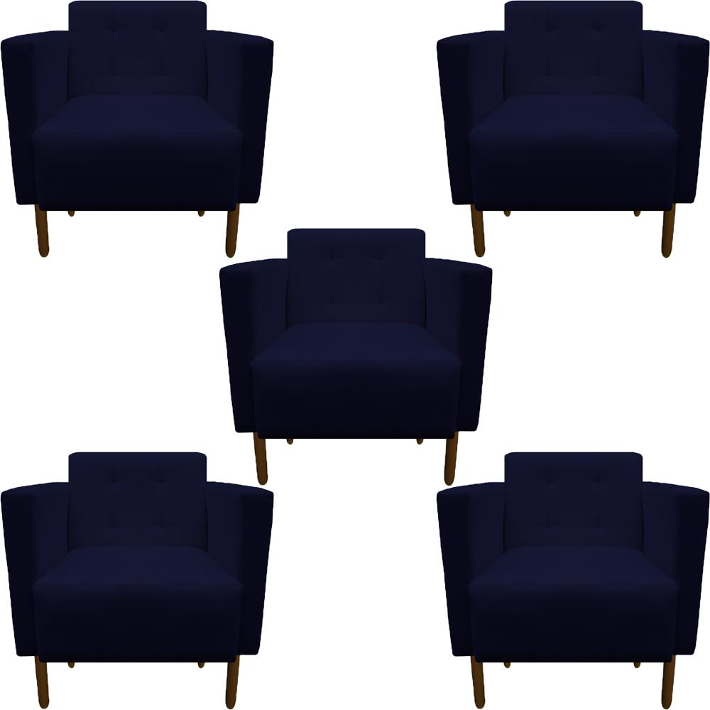 Kit 5 Poltrona Isa Decoração Clinica Recepção Escritório Quarto Cadeira D'Classe Decor Suede Azul Marinho