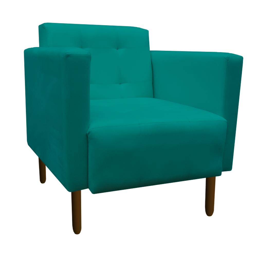 Kit 5 Poltrona Isa Decoração Clinica Recepção Escritório Quarto Cadeira D'Classe Decor Suede Azul Tiffany