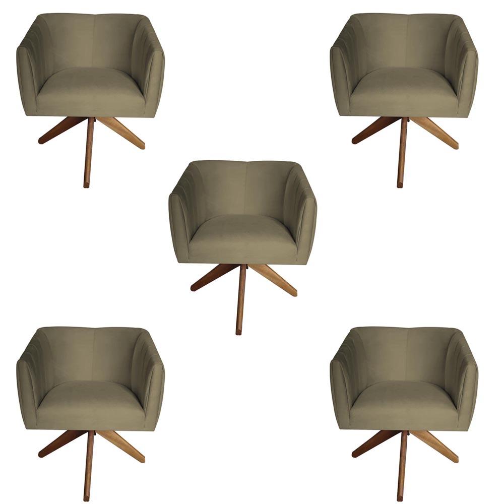 Kit 5 Poltrona Julia Decoração Base Giratória Salão Clinica Cadeira Escritório Recepção D'Classe Decor Suede Marrom Rato