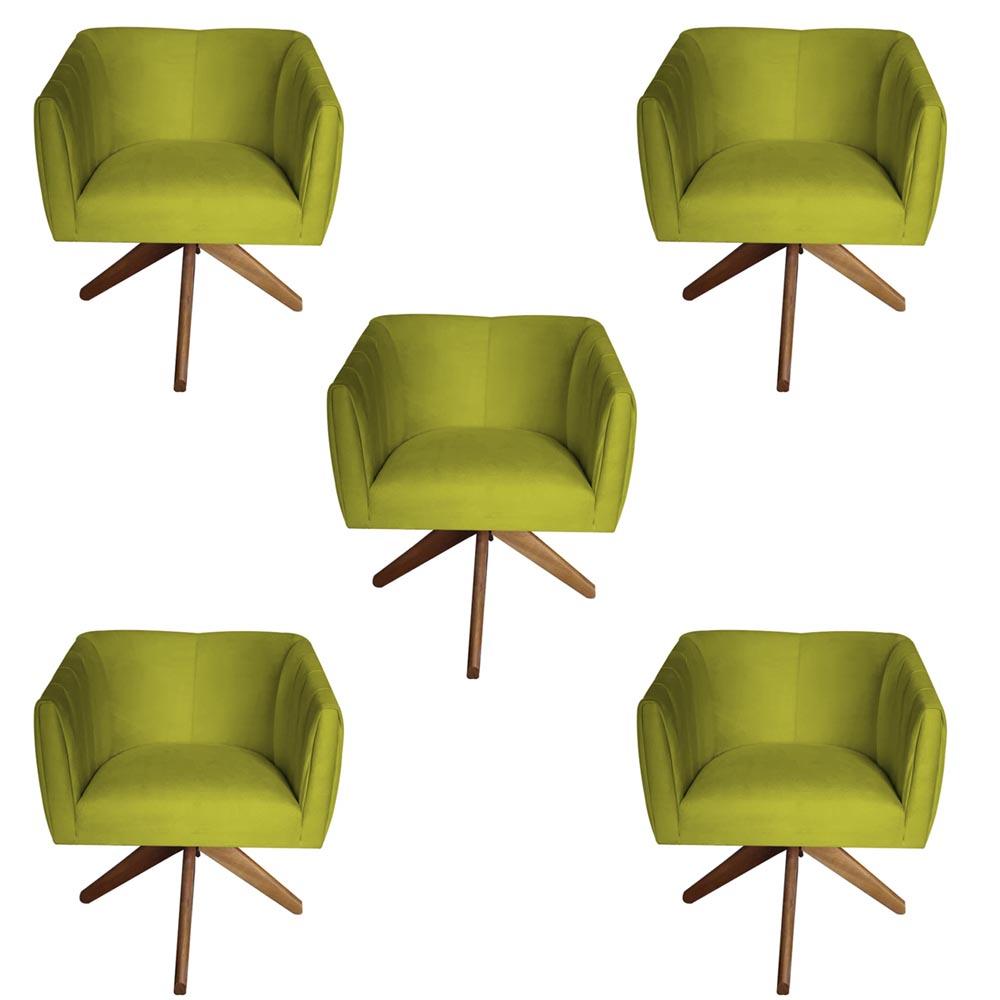 Kit 5 Poltrona Julia Decoração Base Giratória Salão Clinica Cadeira Escritório Recepção D'Classe Decor Suede Amarelo