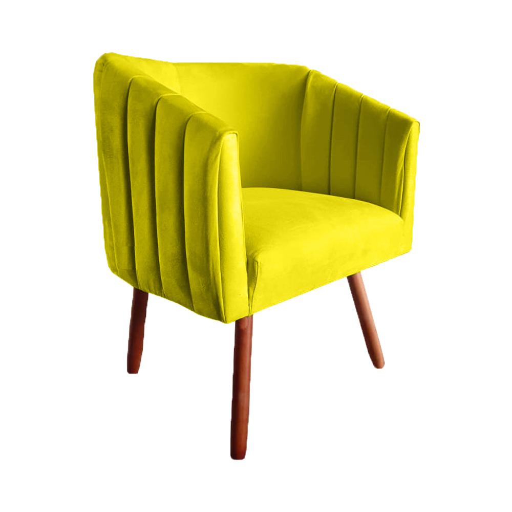 Kit 5 Poltrona Julia Decoração Salão Cadeira Escritório Recepção Estar Amamentação Suede Amarelo