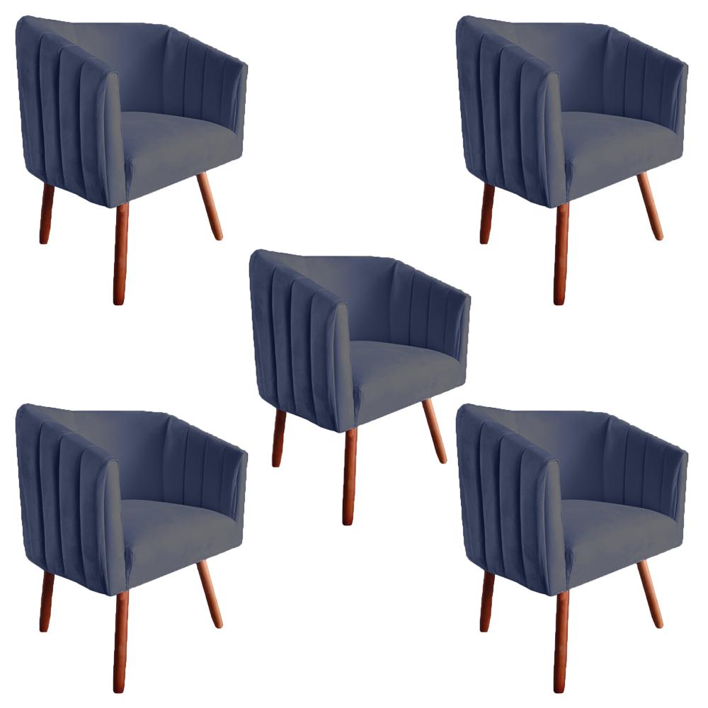Kit 5 Poltrona Julia Decoração Salão Cadeira Escritório Recepção Estar Amamentação Suede Az Marinho