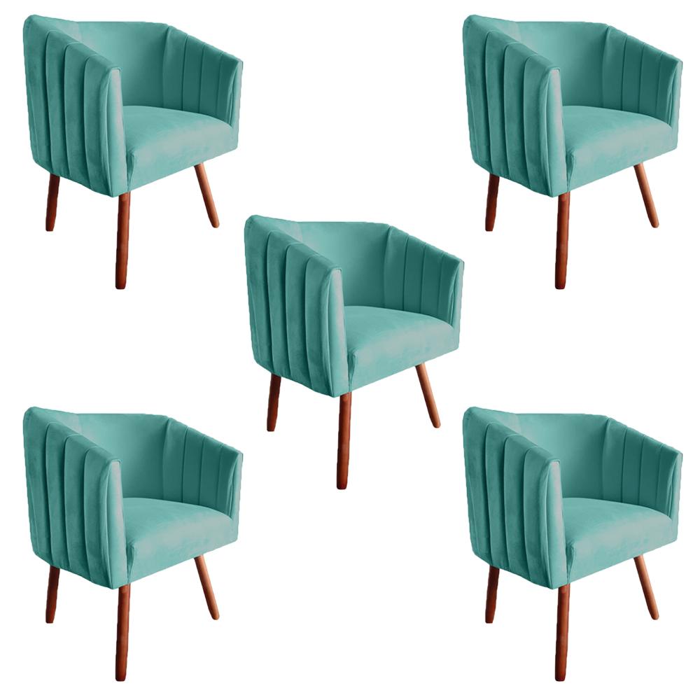 Kit 5 Poltrona Julia Decoração Salão Cadeira Escritório Recepção Estar Amamentação Suede Az Tiffany