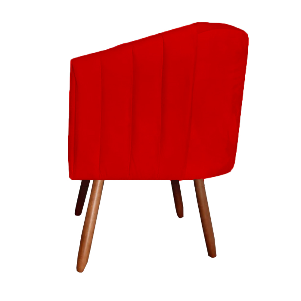 Kit 5 Poltrona Julia Decoração Salão Cadeira Escritório Recepção Estar Amamentação Suede Vermelho