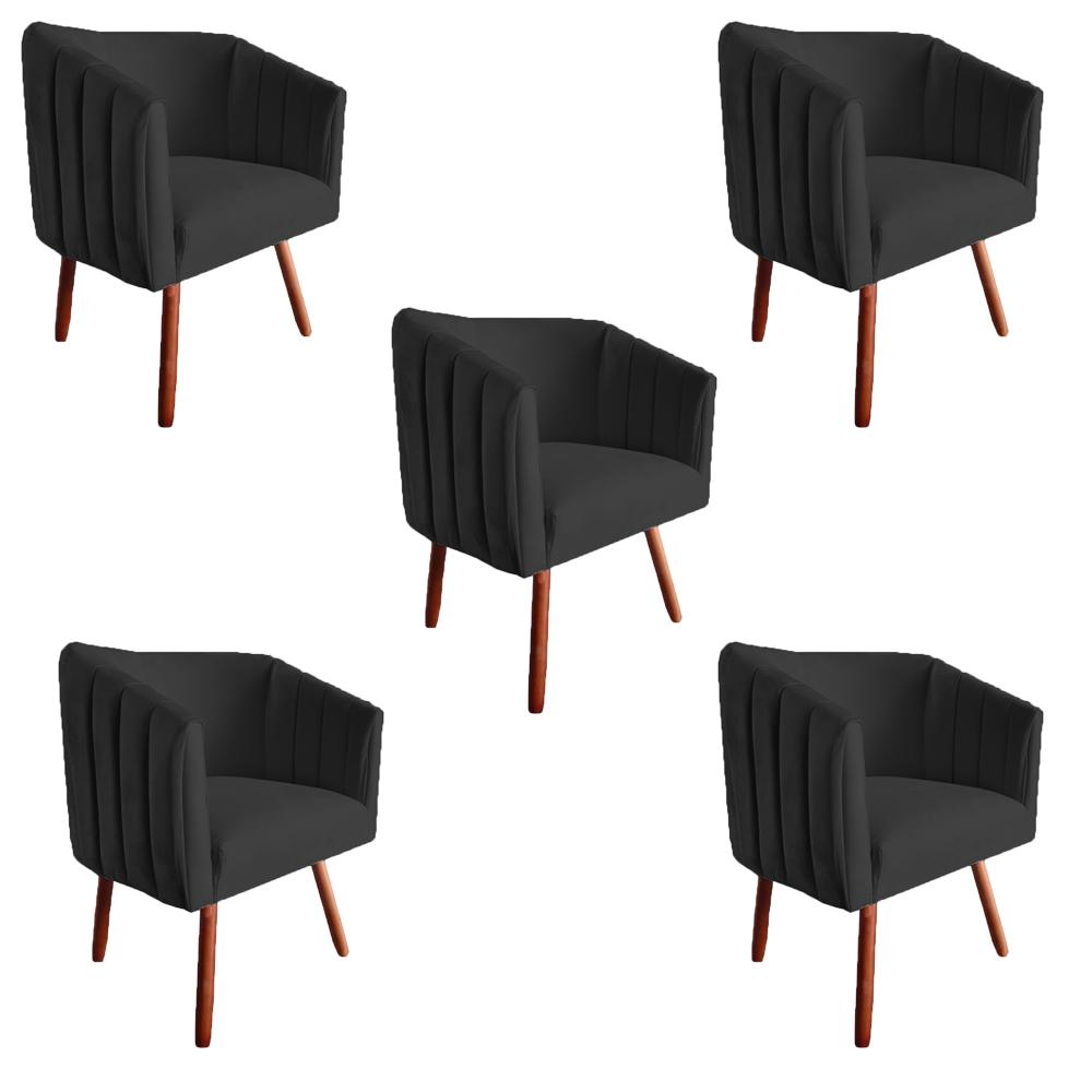 Kit 5 Poltrona Julia Decoração Salão Cadeira Escritório Recepção Estar Amamentação SuedePreto