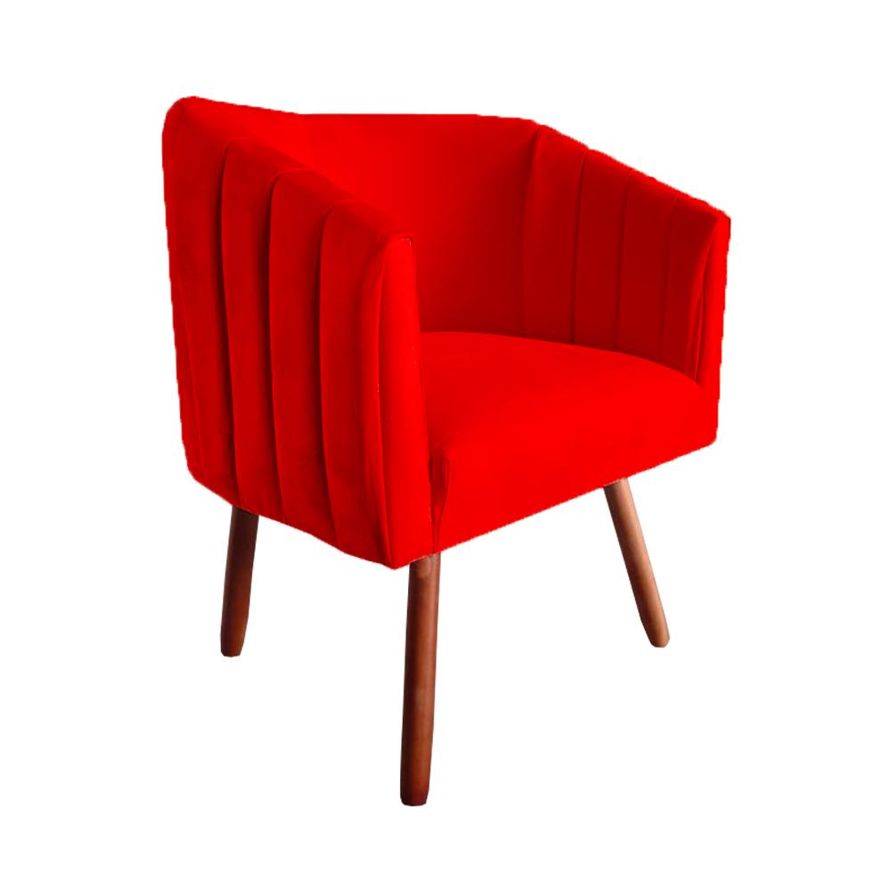 Kit 5 Poltrona Julia Decoração Salão Cadeira Escritório Recepção Sala Estar Amamentação D'Classe Decor Suede Vermelho