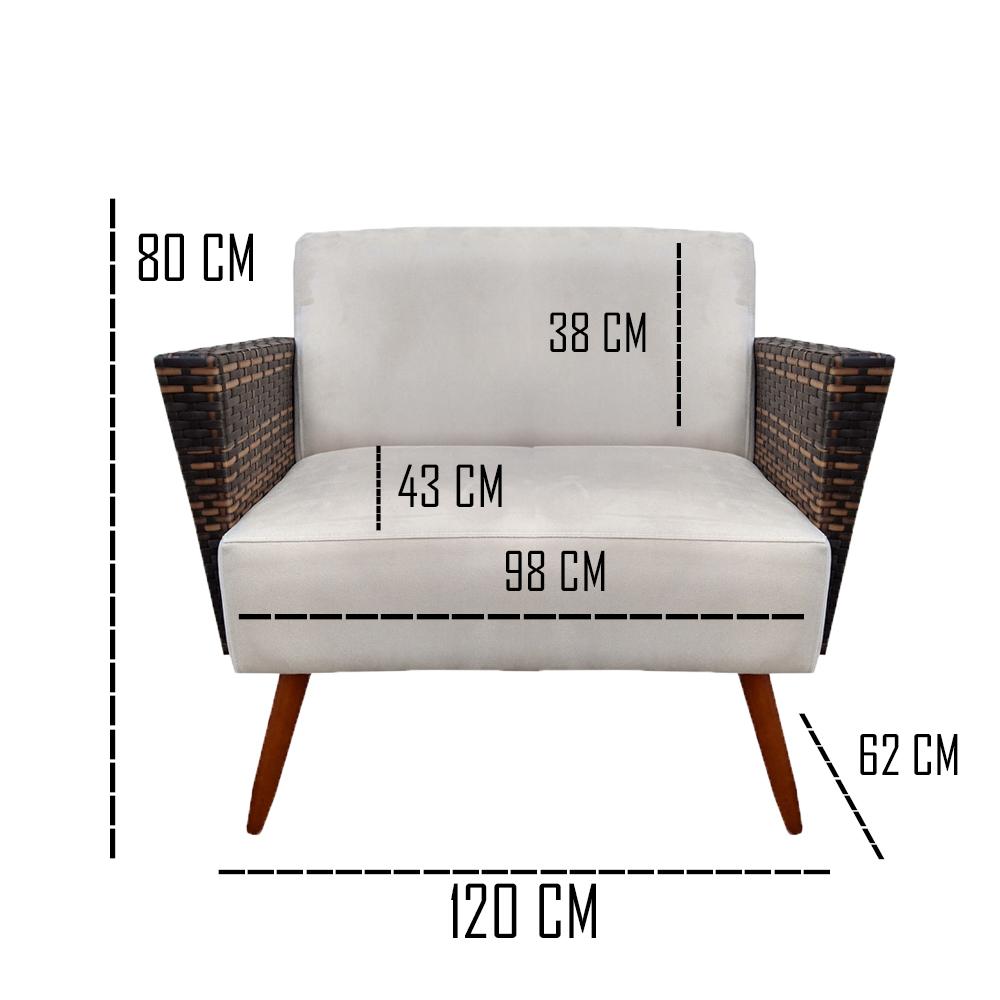 Kit Namoradeira + 2 Poltrona Chanel Decoração Pé Palito Cadeira Escritório Clinica D'Classe Decor Suede Marsala