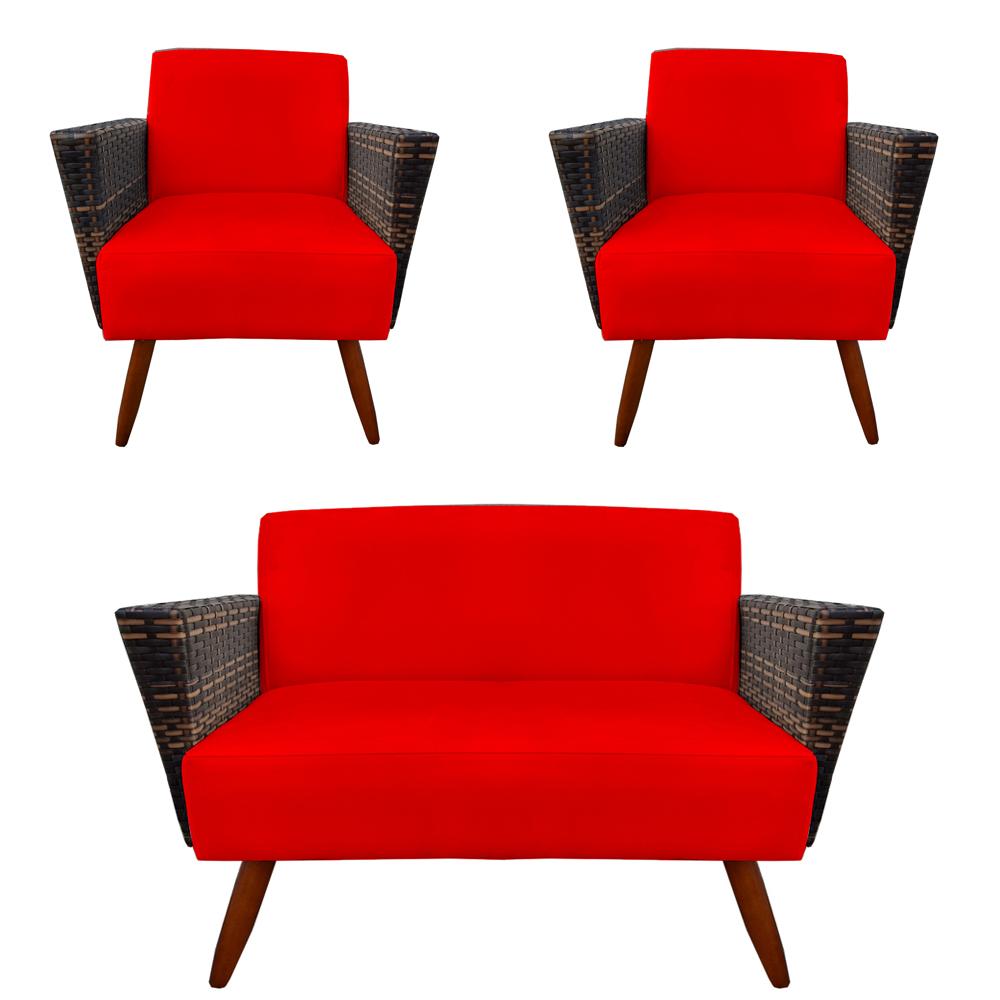 Kit Namoradeira + 2 Poltrona Chanel Decoração Pé Palito Cadeira Escritório Clinica D'Classe Decor Suede Vermelho