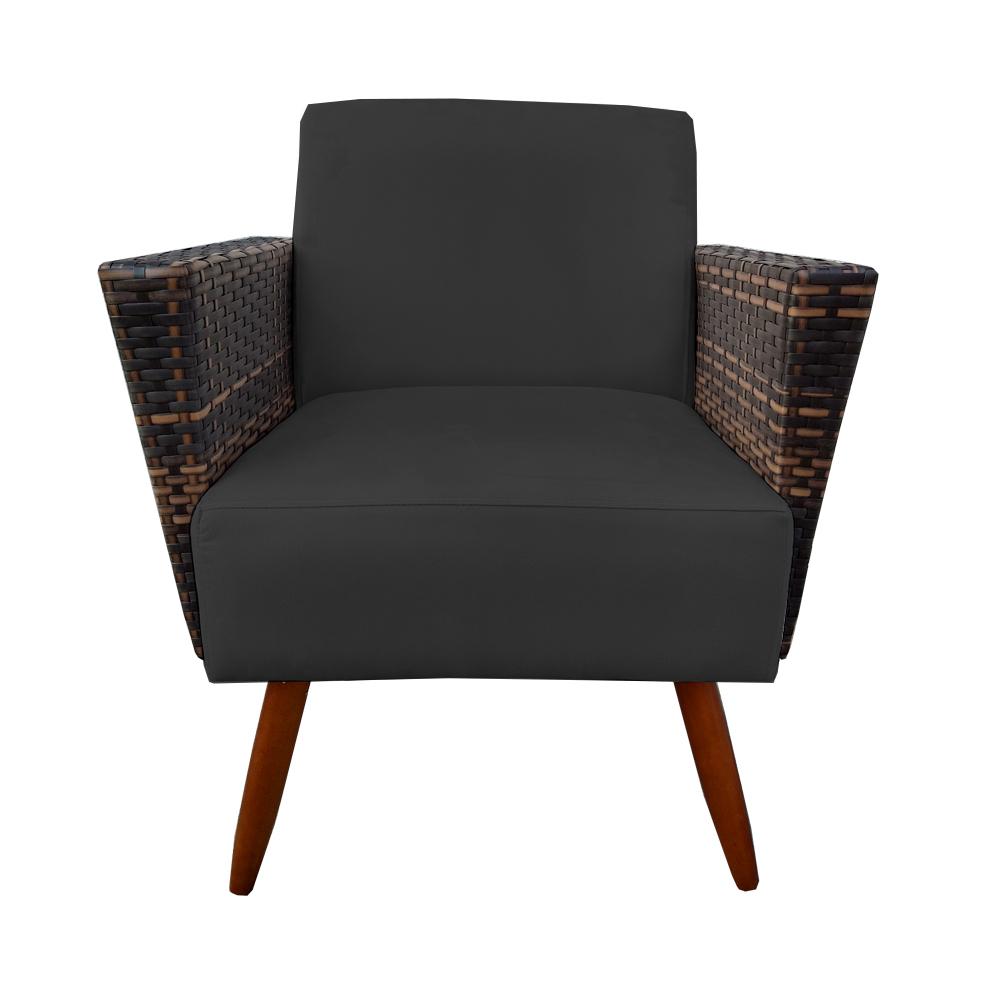 Kit Namoradeira + 2 Poltrona Chanel Decoração Pé Palito Cadeira Escritório Clinica D'Classe Decor Suede Preto