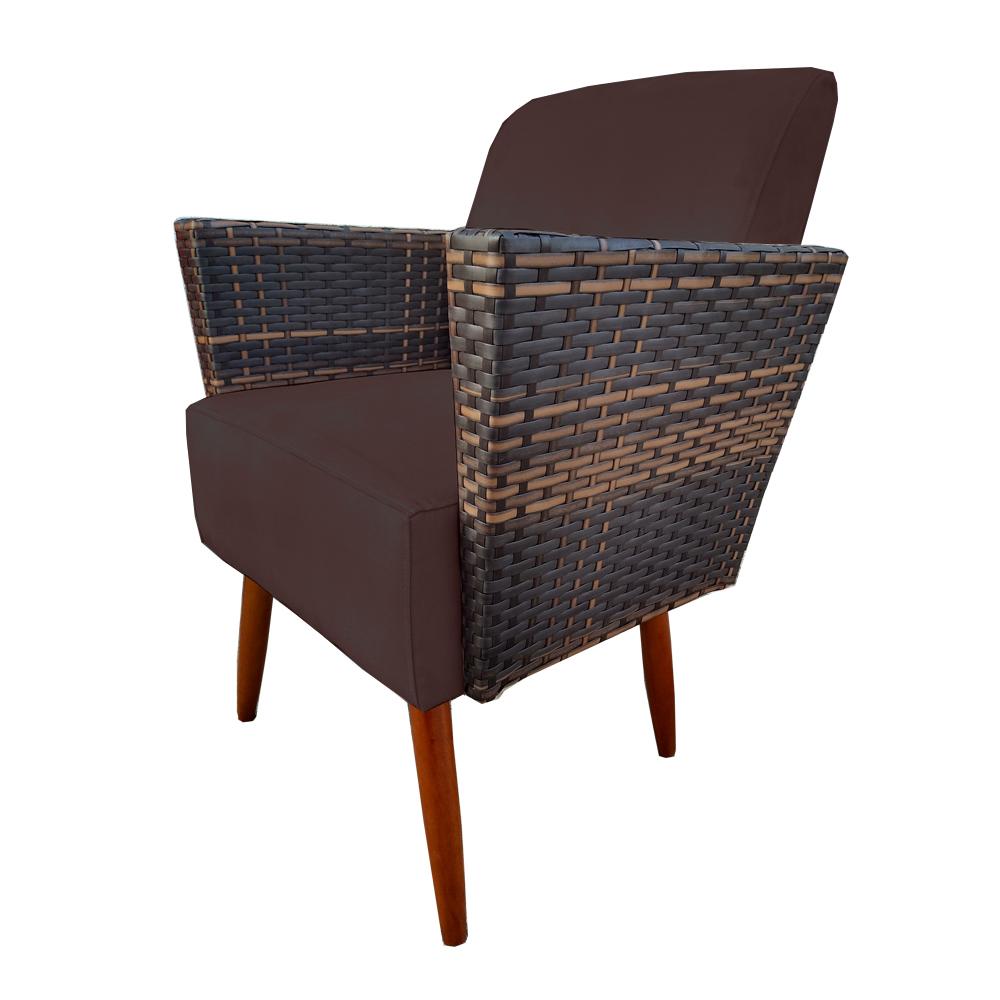 Kit Namoradeira + 2 Poltrona Chanel Decoração Pé Palito Cadeira Escritório Clinica D'Classe Decor Suede Marrom