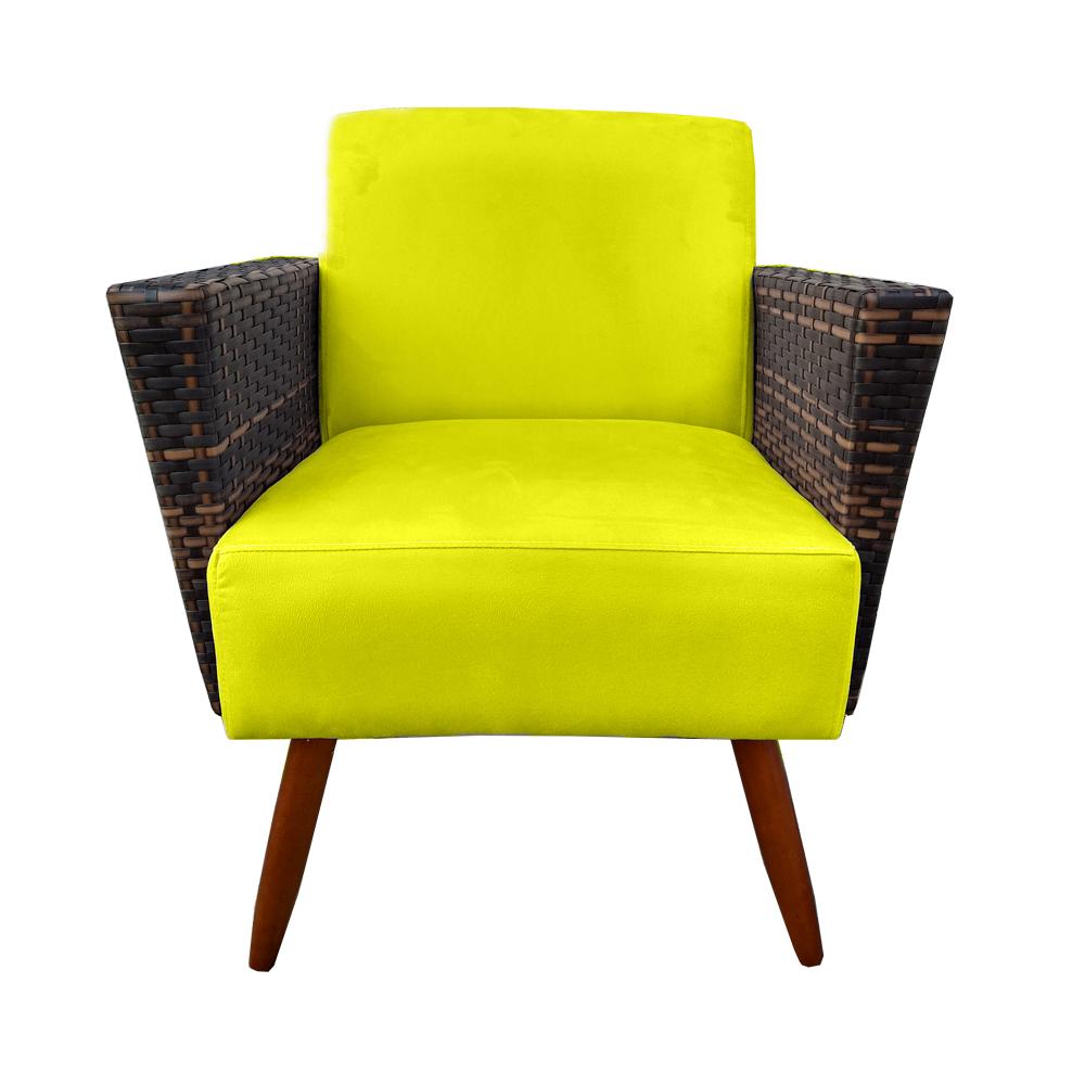 Kit Namoradeira + 2 Poltrona Chanel Decoração Pé Palito Cadeira Escritório Clinica D'Classe Decor Suede Amarelo