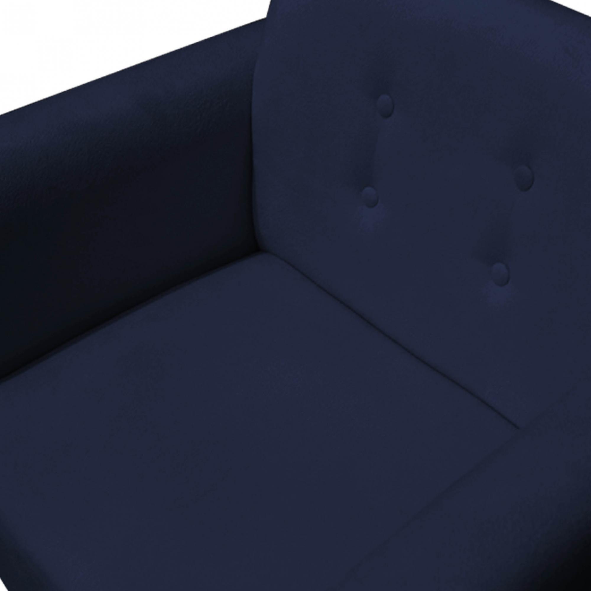 Kit Namoradeira + 2 Poltrona Duda Sofá Decoração Clínica Recepção Escritório Sala Estar D'Classe Decor Suede A Marinho