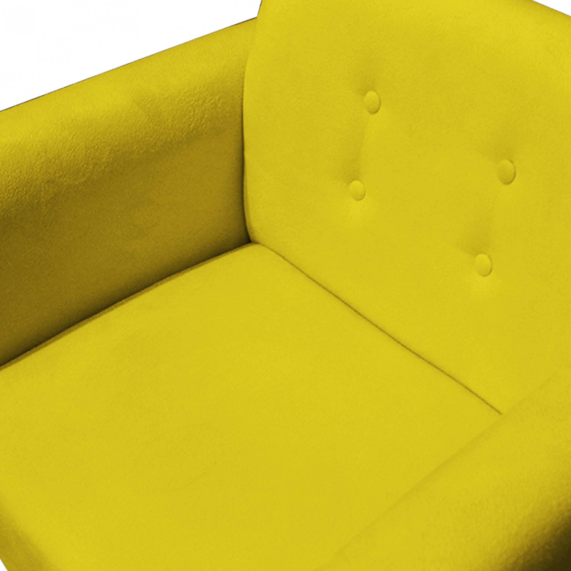 Kit Namoradeira + 2 Poltrona Duda Sofá Decoração Clínica Recepção Escritório Sala Estar D'Classe Decor Suede Amarelo