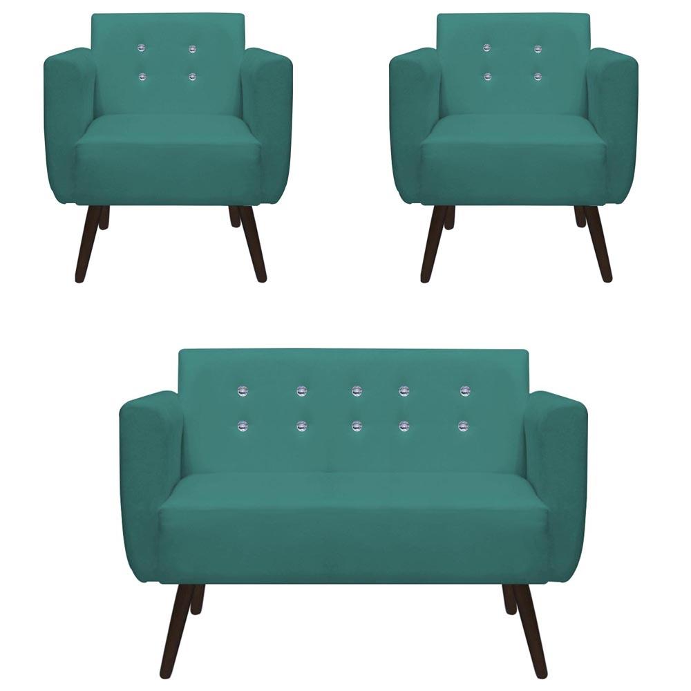 Kit Namoradeira + 2 Poltrona Duda Strass Sala Estar Recepção Escritório Salão D'Classe Decor Suede Azul Tiffany
