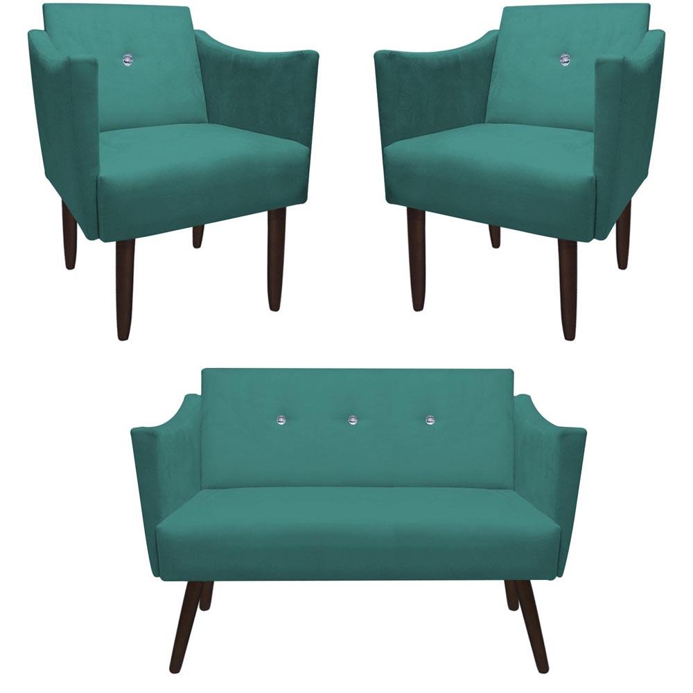 Kit Namoradeira + 2 Poltrona Naty Strass Pé Palito Decoração Recepção Sala Estar D'Classe Decor Suede Azul Tiffany