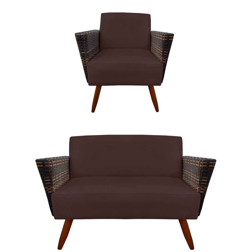 Kit Namoradeira + Poltrona Chanel Decoração Pé Palito Cadeira Escritório Clinica Jantar D'Classe Decor Suede Marrom