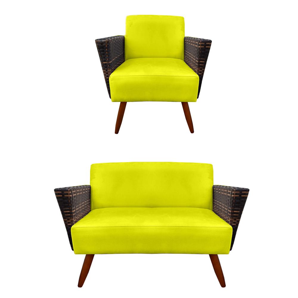 Kit Namoradeira + Poltrona Chanel Decoração Pé Palito Cadeira Escritório Clinica Jantar D'Classe Decor Suede Amarelo