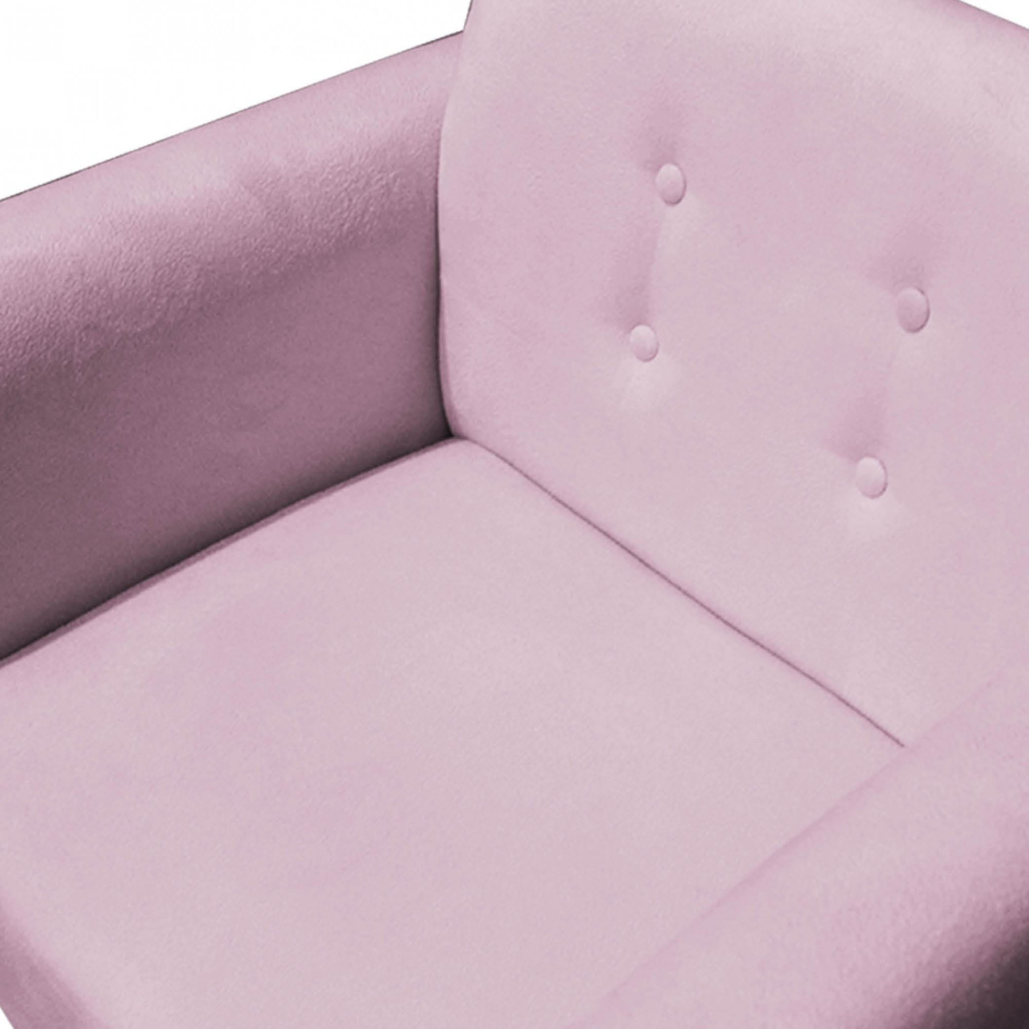 Kit Namoradeira + Poltrona Duda Sofá Decoração Salão Recepção Escritório Sala Estar D'Classe Decor Suede Rosa Bebê