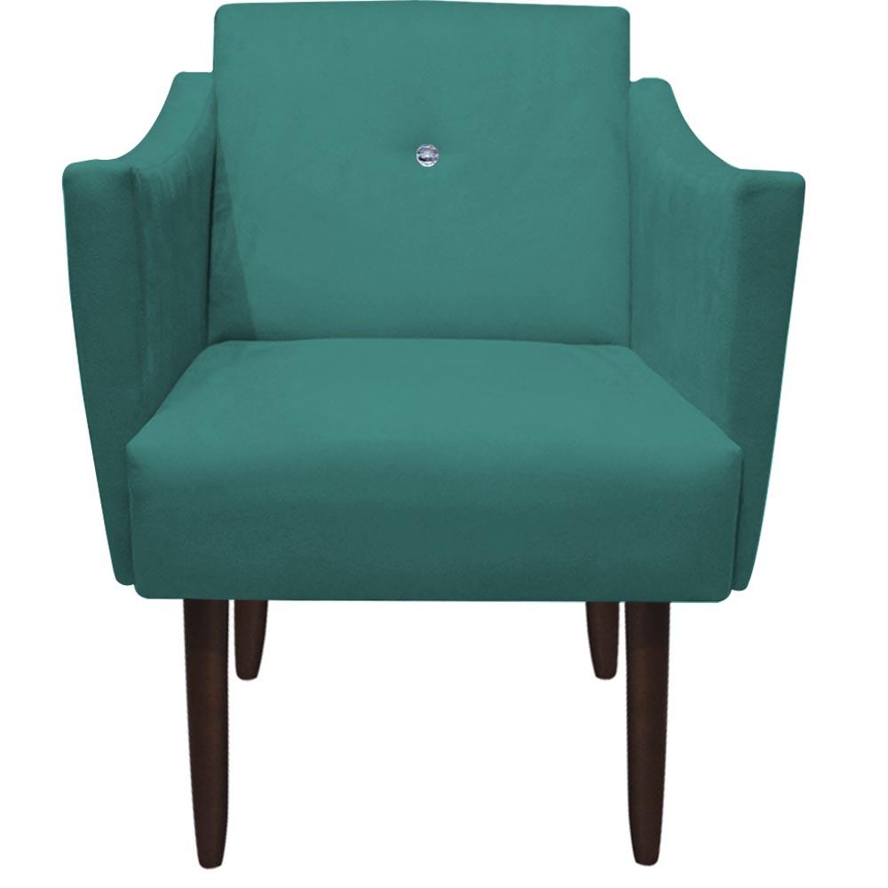 Kit Namoradeira + Poltrona Naty Strass Pé Palito Decoração Recepção Sala Estar D'Classe Decor Suede Azul Tiffany