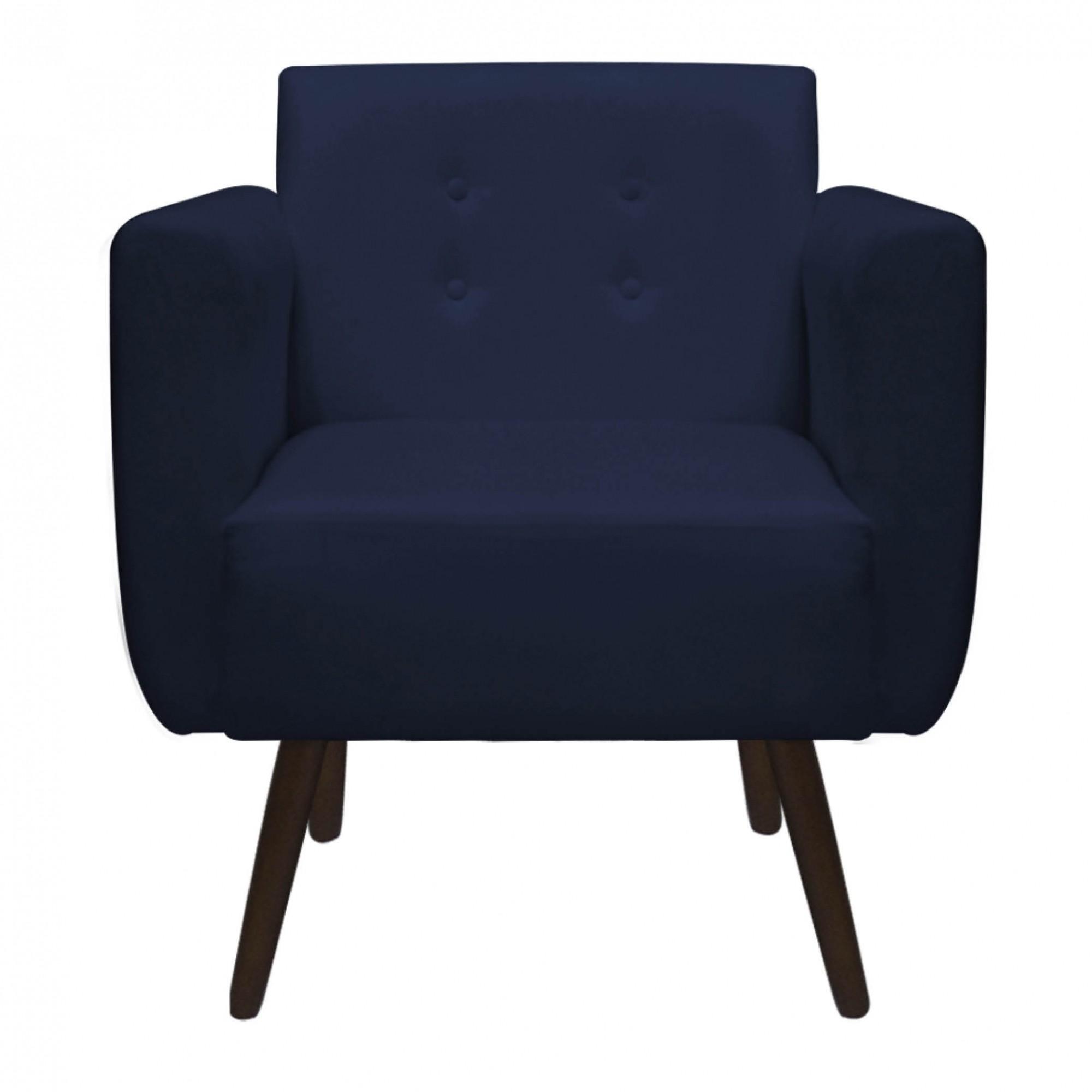 Kit Poltrona com Namoradeira Duda Decorativa Sala de Estar Pé Palito Suede Azul Marinho D02 - D´Classe Decor