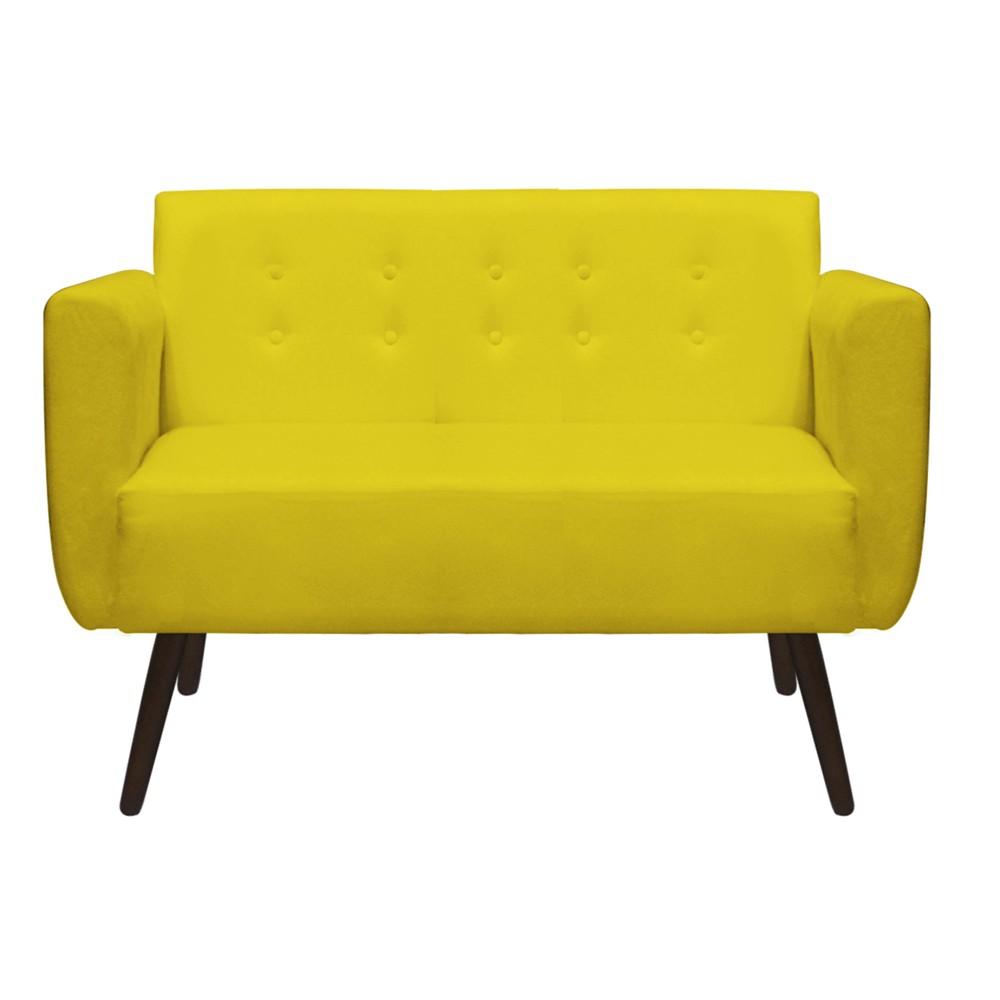 Namoradeira Duda Decorativa Sala de Estar Recepção Pé Palito Suede Amarelo D04 - D´Classe Decor