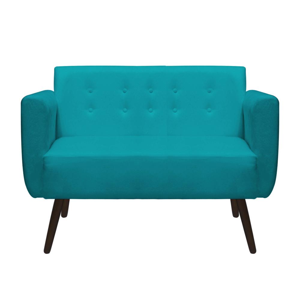 Namoradeira Duda Sofá Decoração Clínica Recepção Escritório Sala Estar D'Classe Decor Suede Azul Tiffany