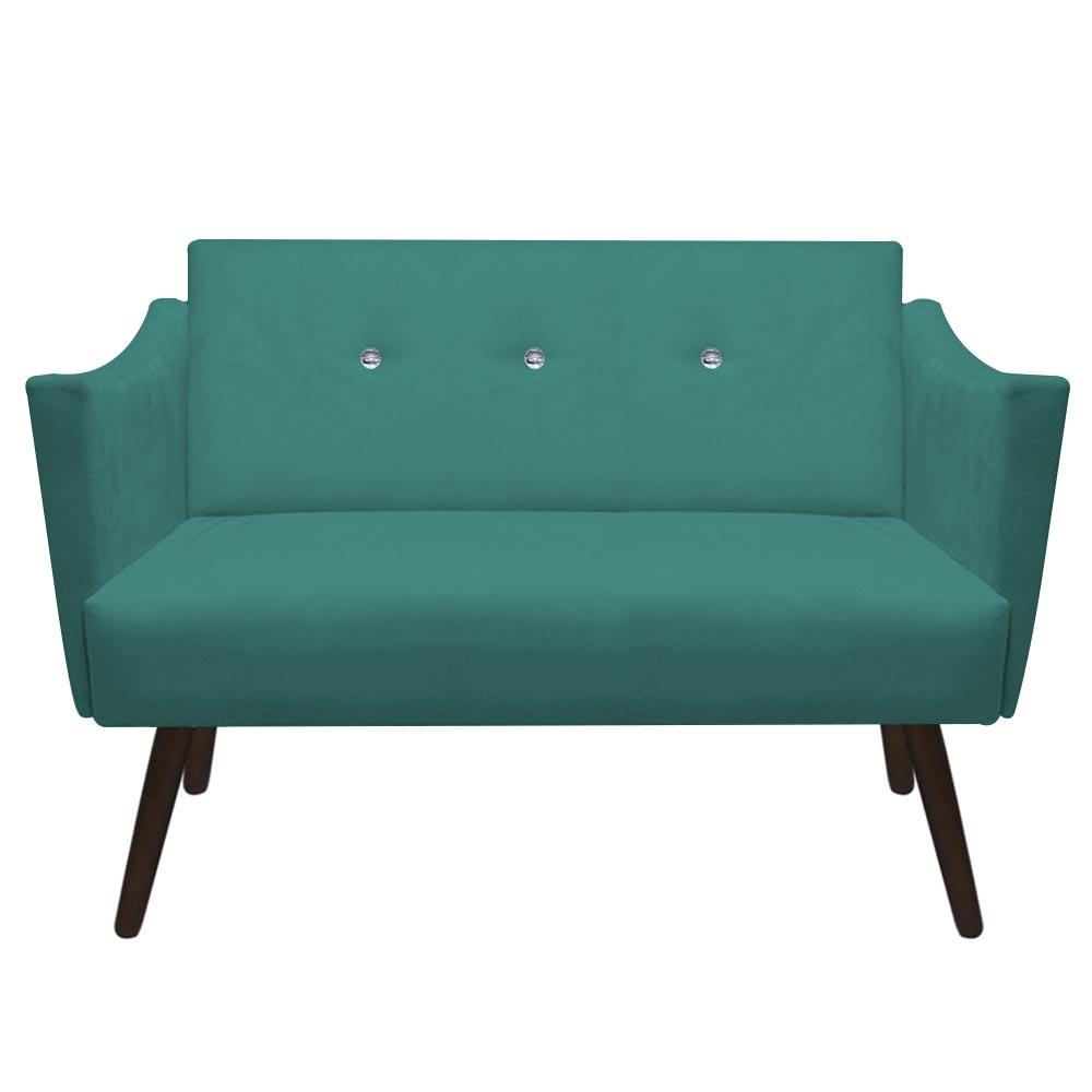 Namoradeira Naty Strass Pé Palito Recepção Sala Estar D'Classe Decor Suede Azul Tiffany