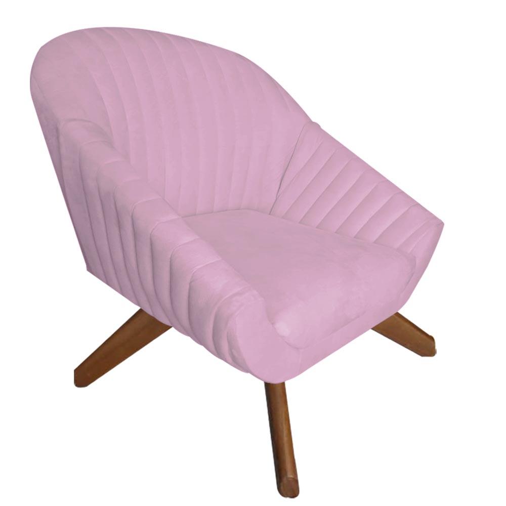 Poltrona Anitta Decoração Base Giratória Moderna Salão Recepção Quarto Salão D'Classe Decor Suede Rosa Bebê