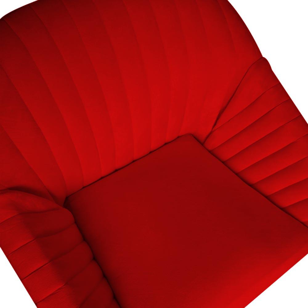 Poltrona Anitta Decoração Base Giratória Moderna Salão Recepção Quarto Salão D'Classe Decor Suede Vermelho