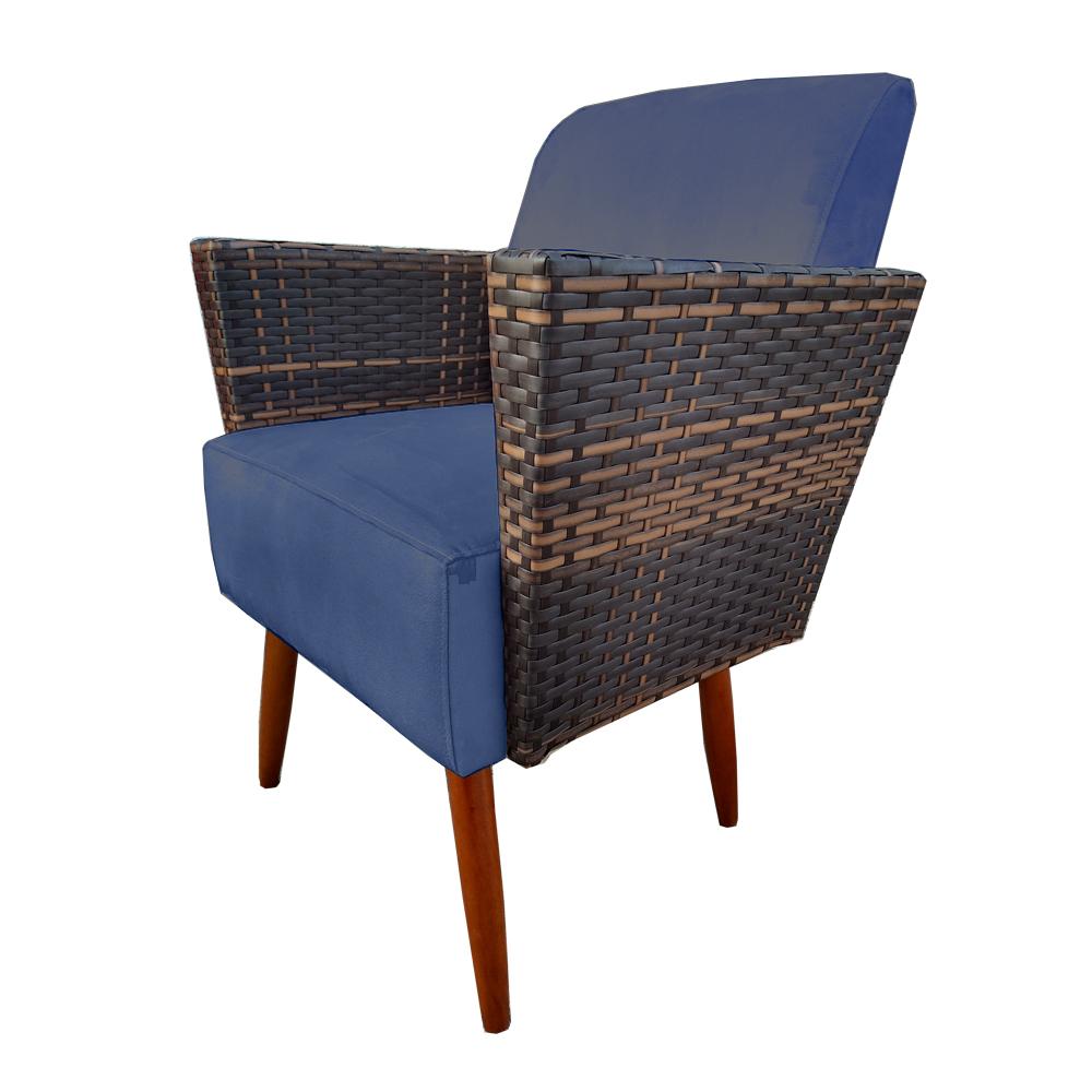 Poltrona Chanel Decoração Pé Palito Cadeira Escritório Clinica Jantar Estar Suede Azul Marinho