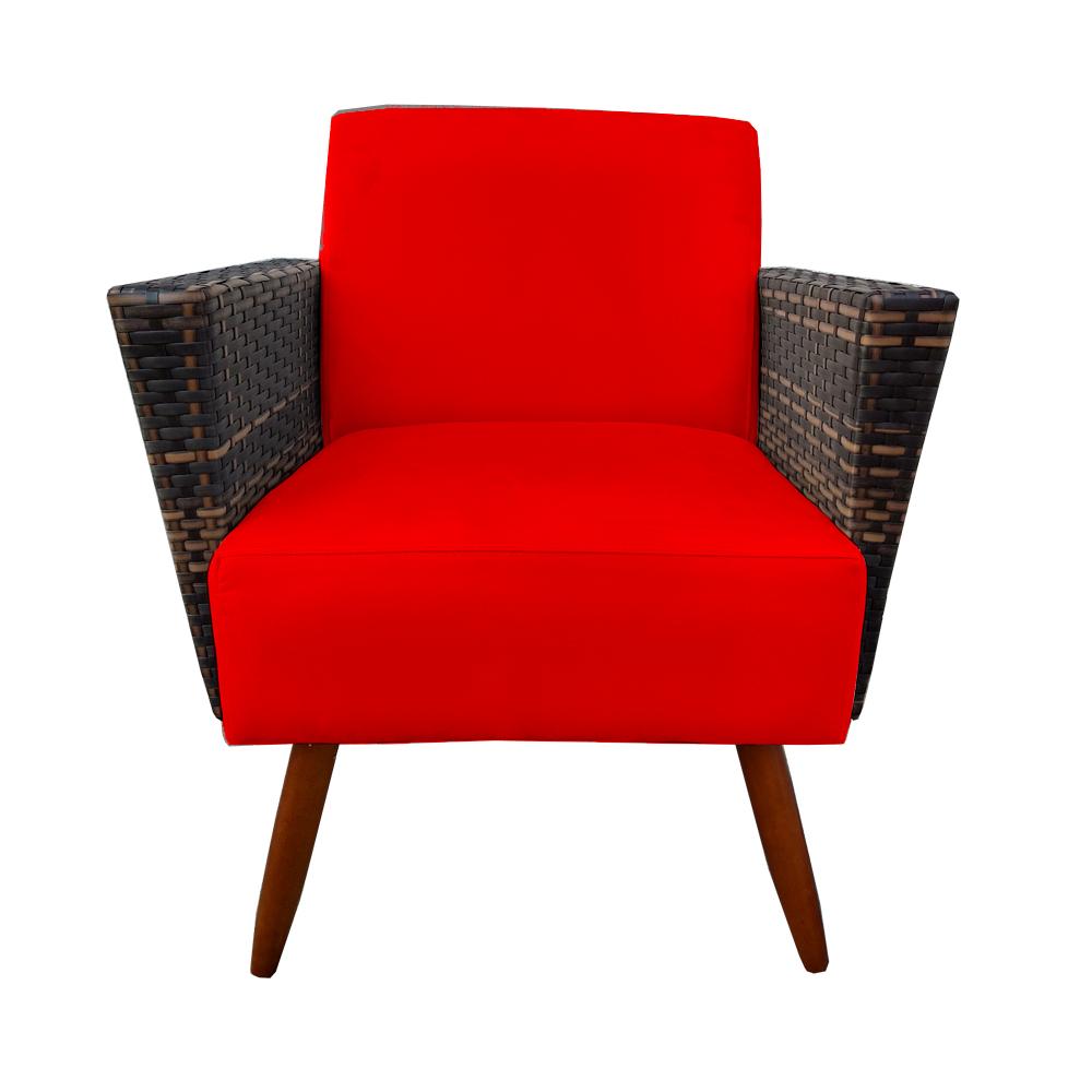 Poltrona Chanel Decoração Pé Palito Cadeira Escritório Clinica Jantar Sala Estar D'Classe Decor Suede Vermelho