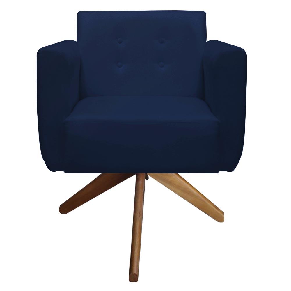 Poltrona Duda Decoraçâo Base Giratória Cadeira Recepção Escritório Clinica D'Classe Decor Suede Azul Marinho