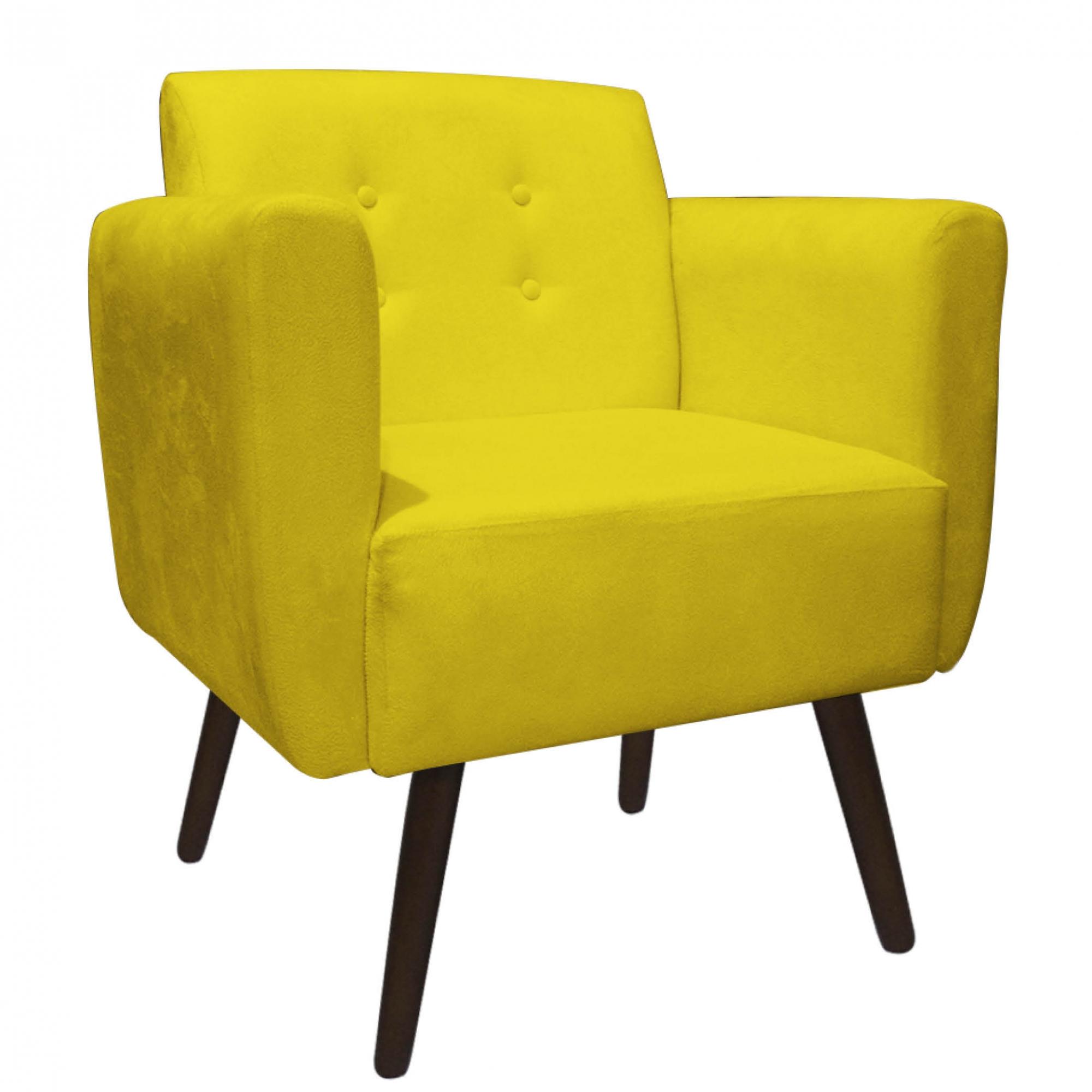 Poltrona Duda Decoraçâo Pé Palito Cadeira Recepção Escritório Clinica D'Classe Decor Suede Amarelo