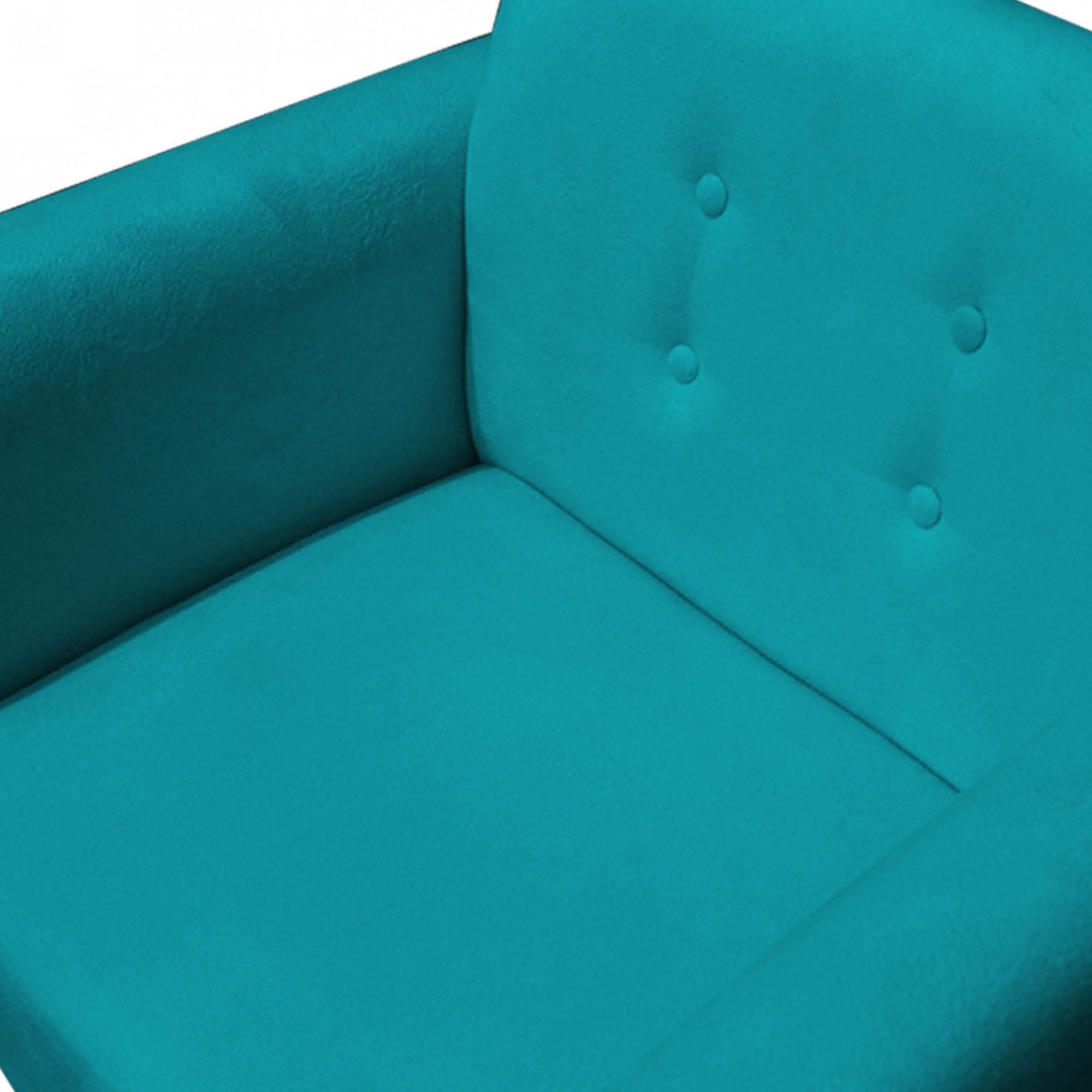 Poltrona Duda Decorativa Sala de Estar Recepção Pé Palito Suede Azul Tifany D05 - D´Classe Decor