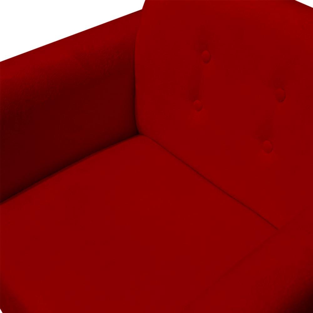Poltrona Duda Giratória Sala de Estar Recepção Suede Vermelho D09 - D´Classe Decor