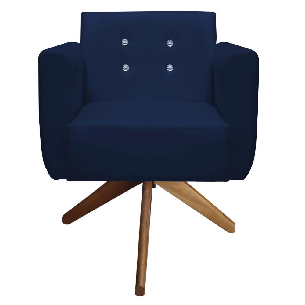 Poltrona Duda Strass Base Giratória Cadeira Escritório Consultório Salão D'Classe Decor Suede Azul Marinho