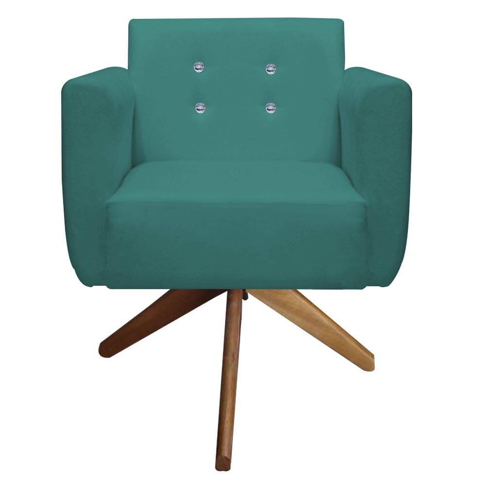Poltrona Duda Strass Base Giratória Cadeira Escritório Consultório Salão D'Classe Decor Suede Azul Tiffany