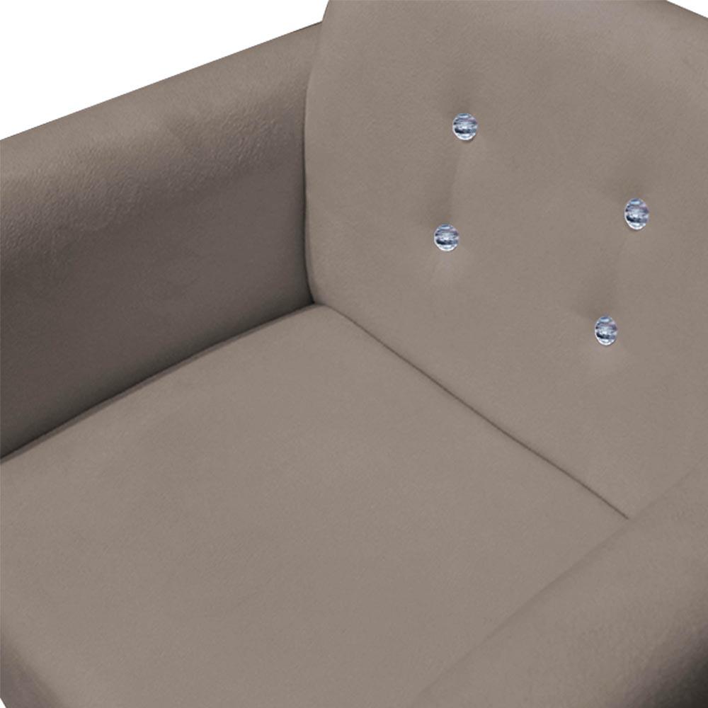Poltrona Duda Strass Base Giratória Cadeira Escritório Consultório Salão D'Classe Decor Suede Bege