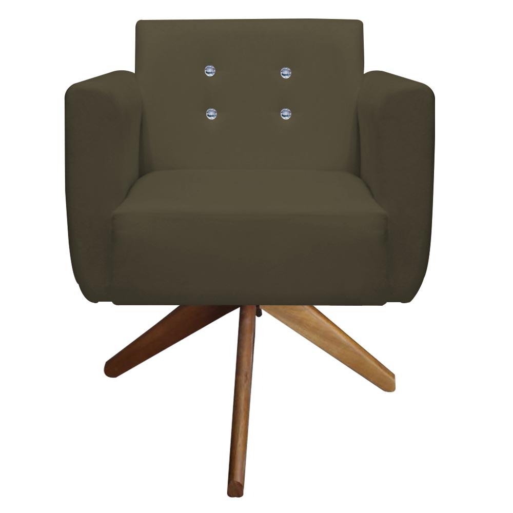 Poltrona Duda Strass Base Giratória Cadeira Escritório Consultório Salão D'Classe Decor Suede Marrom Rato