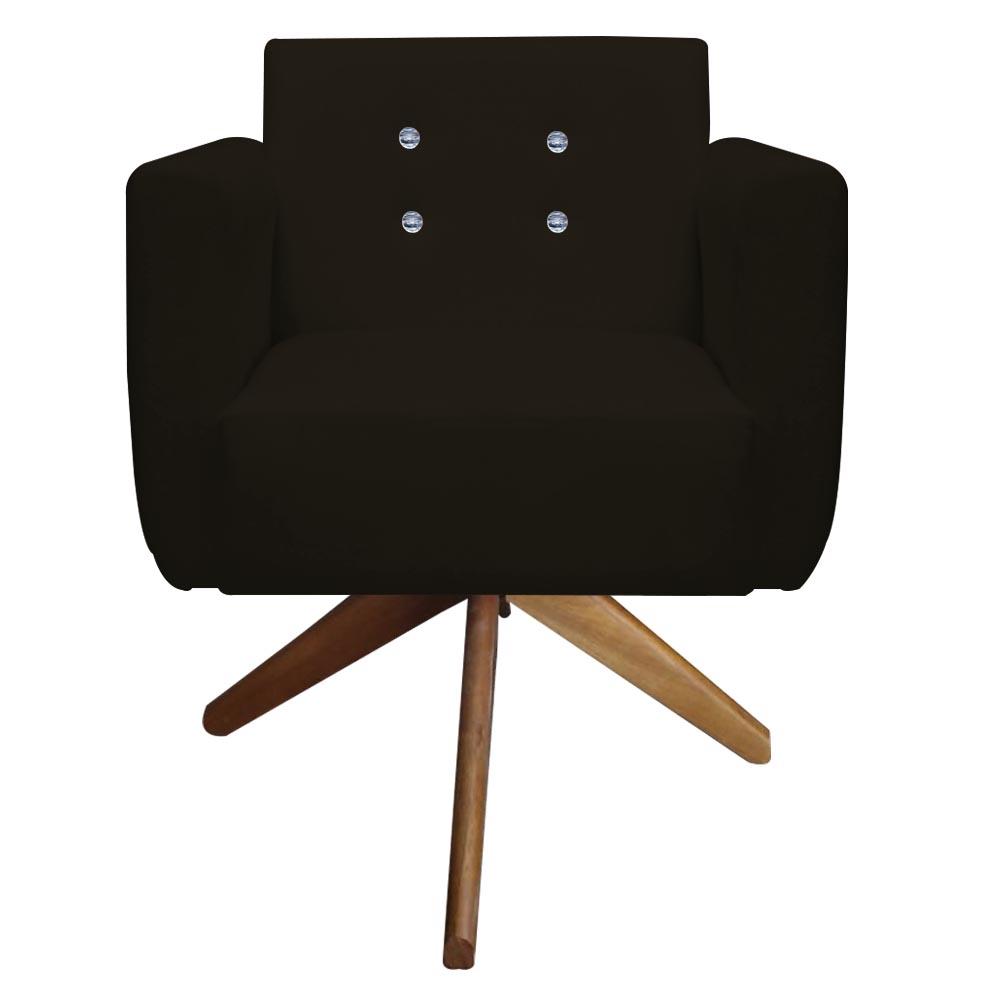 Poltrona Duda Strass Base Giratória Cadeira Escritório Consultório Salão D'Classe Decor Suede Marrom