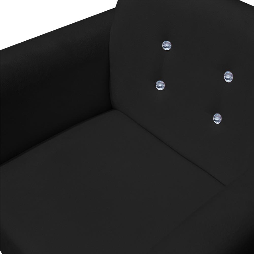 Poltrona Duda Strass Base Giratória Cadeira Escritório Consultório Salão D'Classe Decor Suede Preto