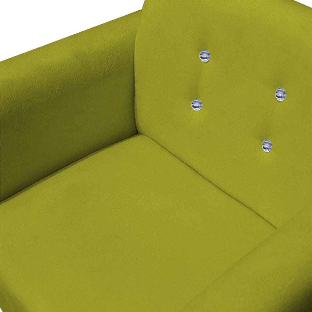 Poltrona Duda Strass Decoração Cadeira Escritório Consultório Salão D'Classe Decor Suede Amarelo